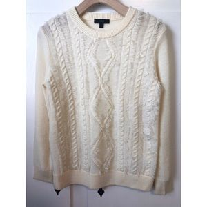J. Crew Cream Fringe Cable Knit Sweater